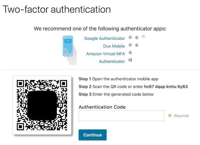 Enabling and disabling two-factor authentication | Fastly