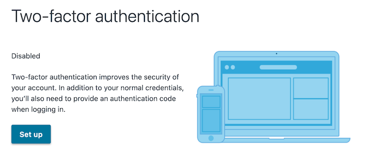 Enabling and disabling two-factor authentication - Account
