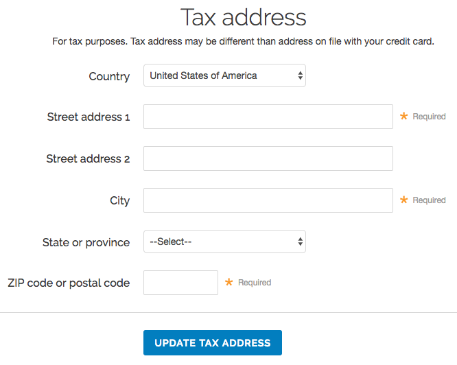 the Tax Address page