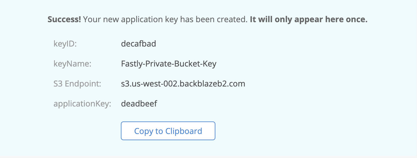 Backblaze B2 Created Application Key
