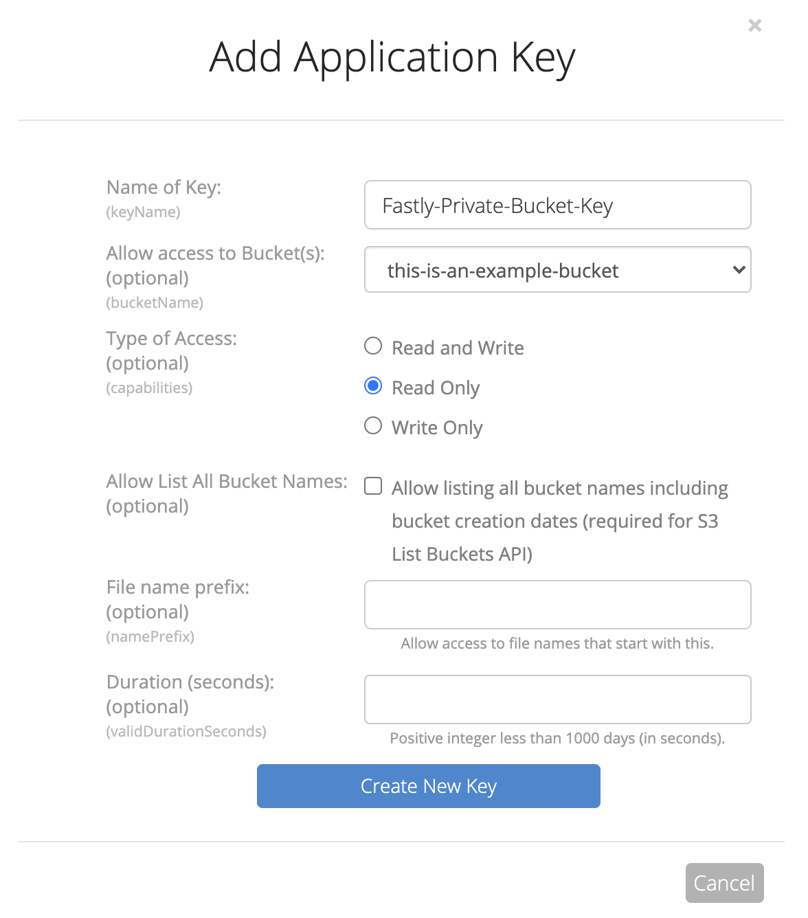 Backblaze B2 New Application Key