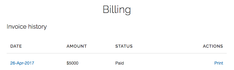 the billing invoice history