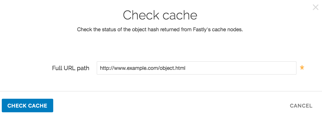 the Check Cache window
