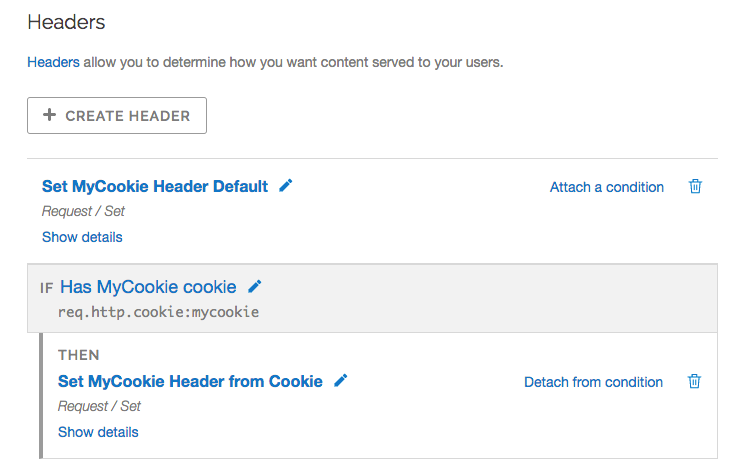 example mycookie headers with conditions