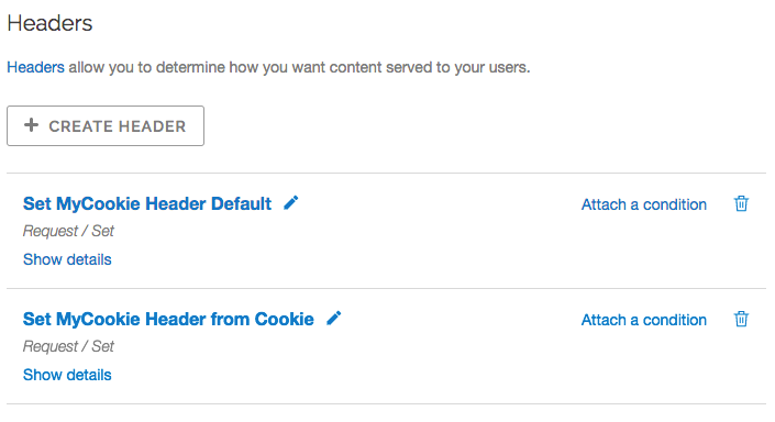 example set myCookie headers in the headers area