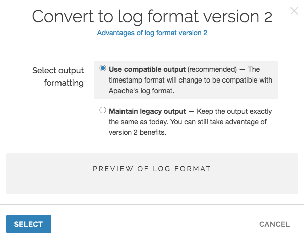 the convert to log format version 2 window