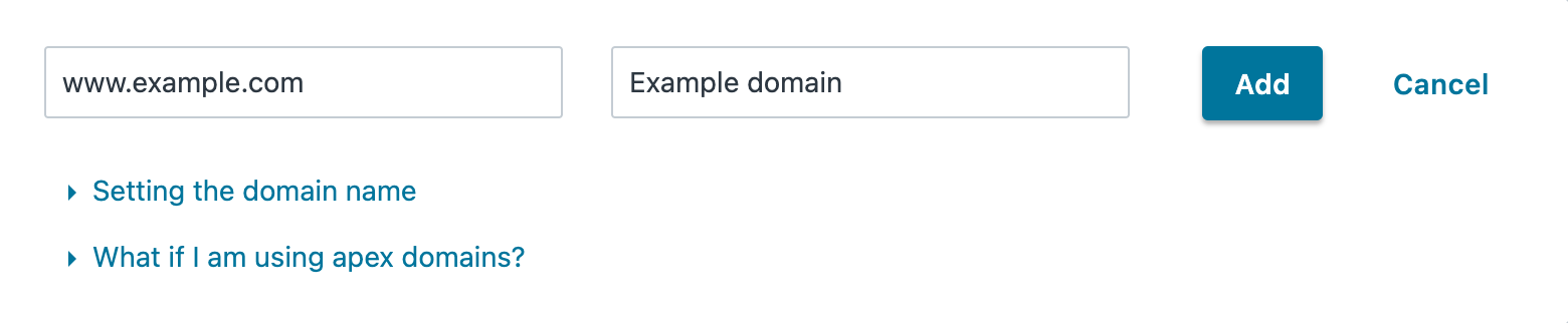 the Create a Domain page