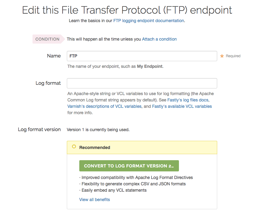 the edit logging endpoint page with upgrade message