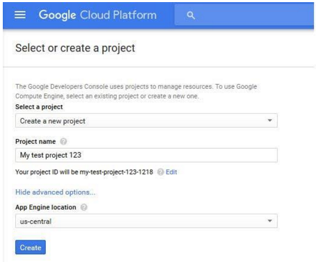 Google Compute Engine create project