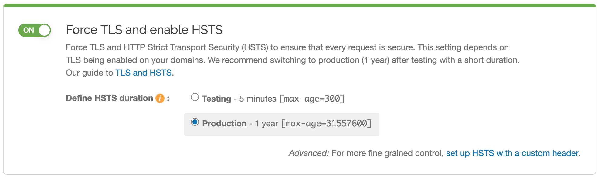 new HSTS settings