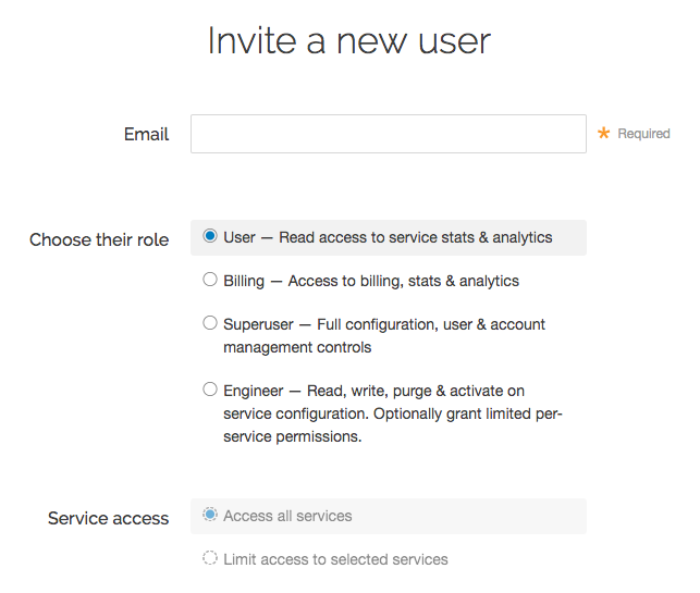 the invite a new user controls for choosing a new user's role and service access permissions