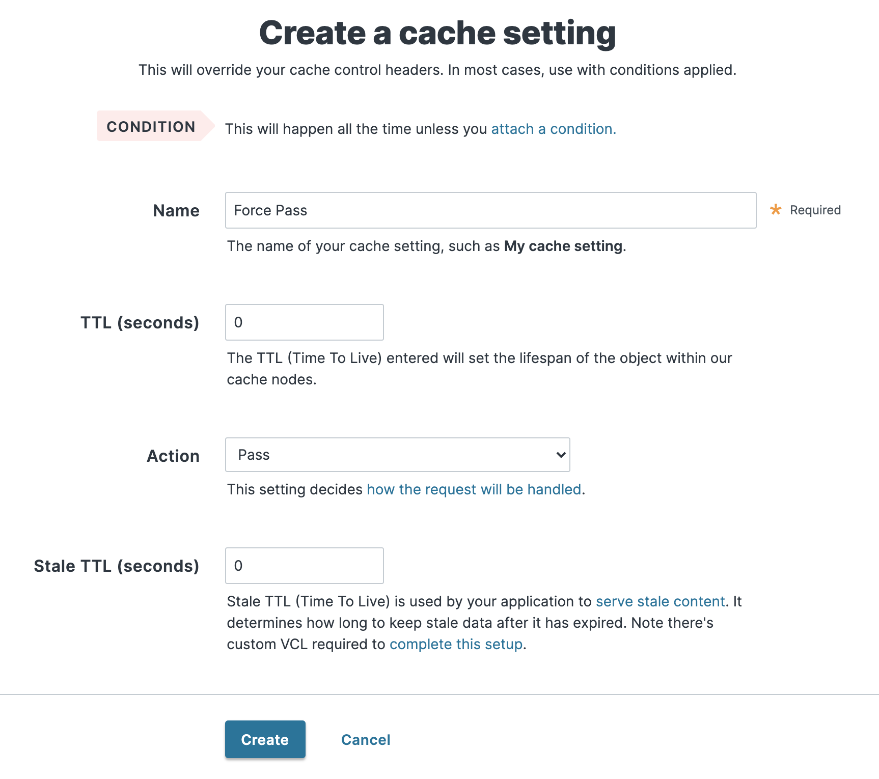 the Cache Settings window