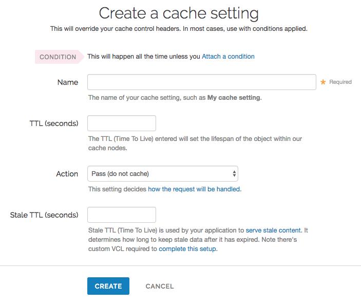 a cache setting