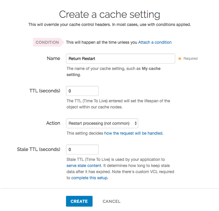 return restart in the Create a cache settings page