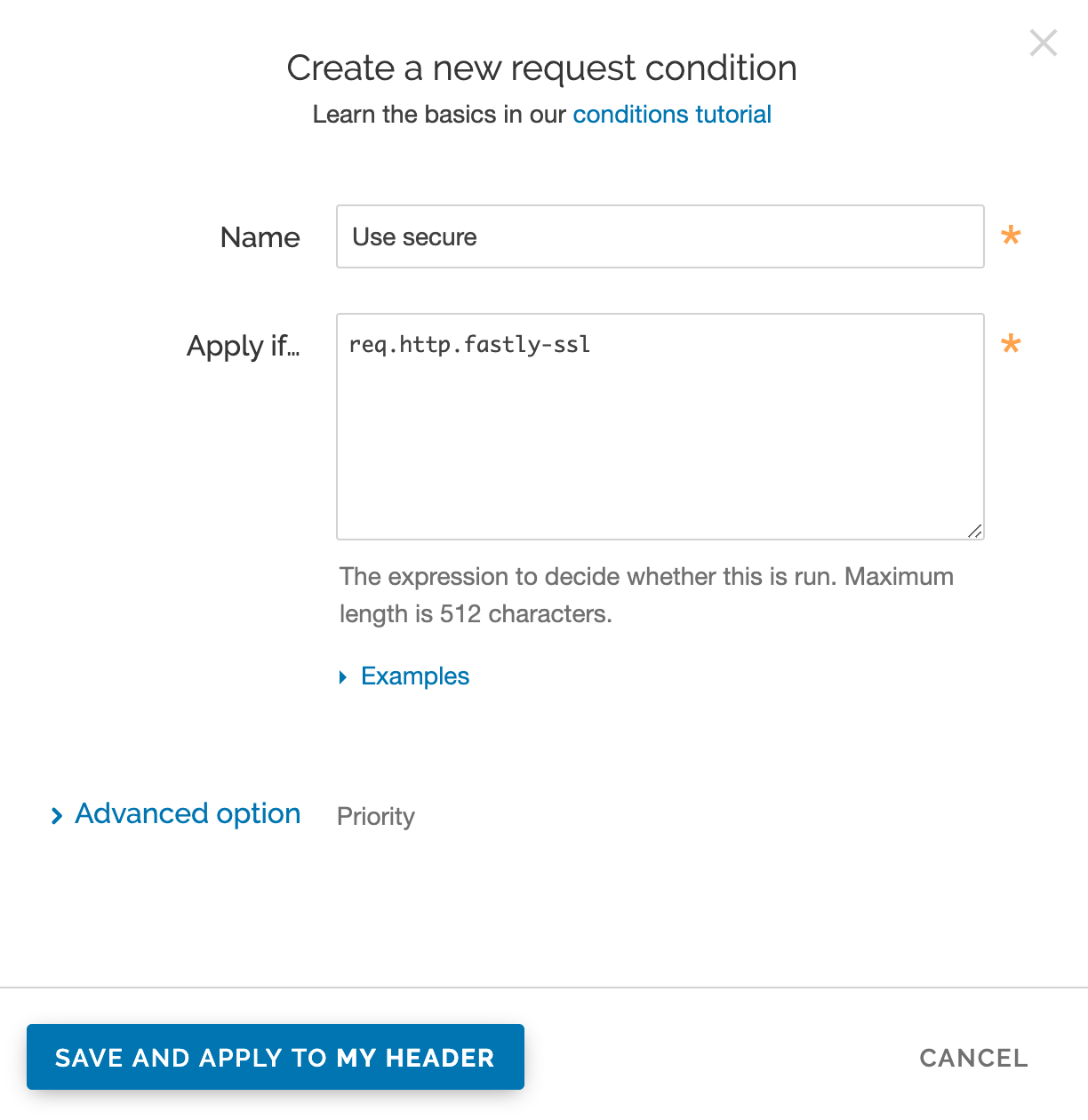 the Create a new request condition window with settings for the secure server