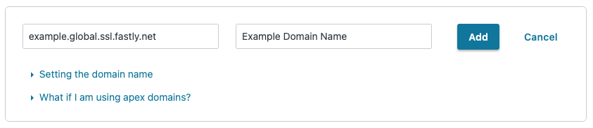 the Create a domain page set up with TLS to Fastly's shared cert