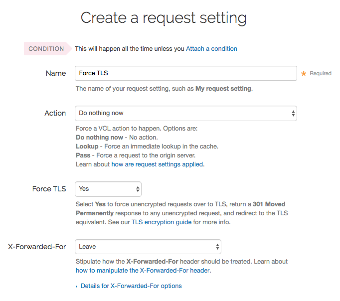 the Create a request setting window