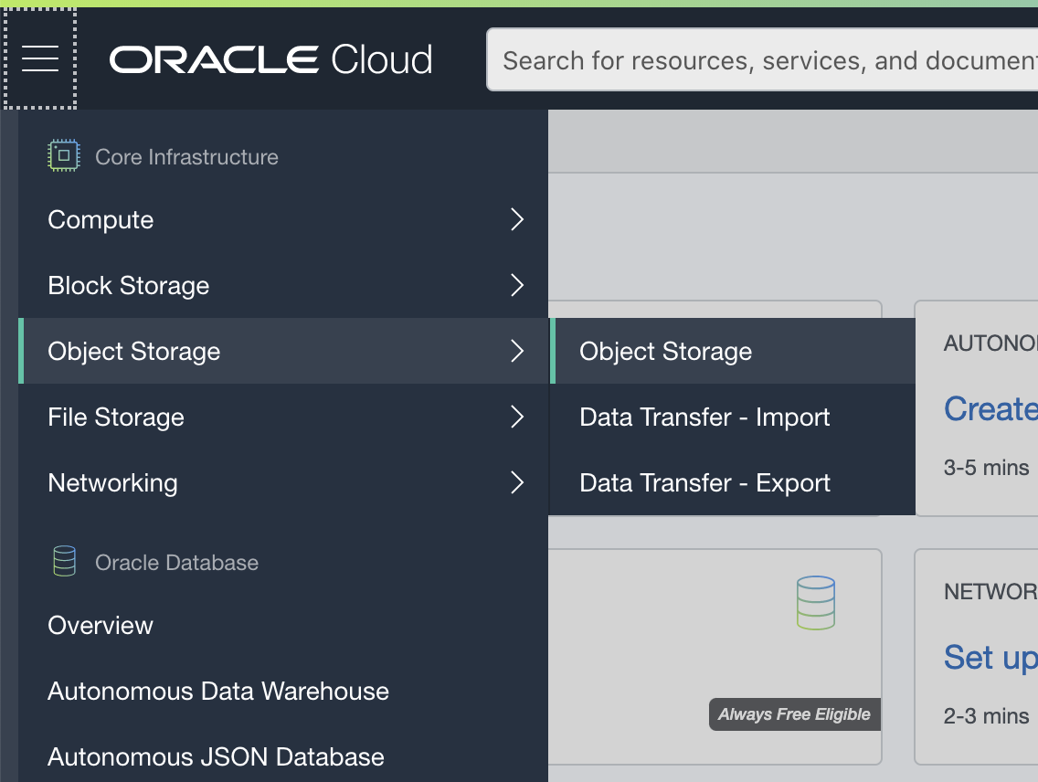 Oracle Cloud Object Storage New Bucket window