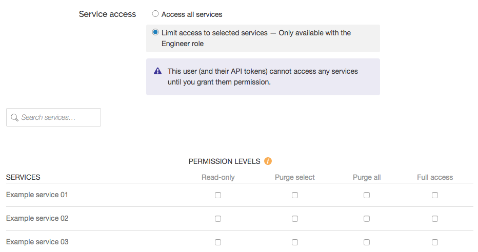 the service access controls and permission levels for an engineer whose access will be limited to selected services