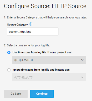 Sumo Logic Configure Source: HTTP Source window