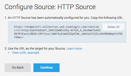 Sumo Logic Configure Source: HTTP Source window with HTTP Source URL