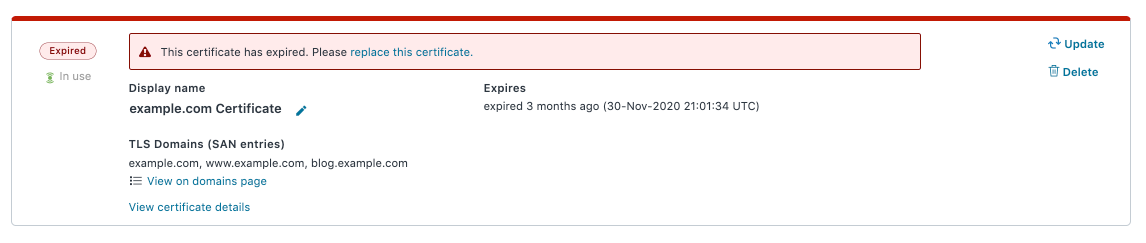 a warning that a certificate is past expiration