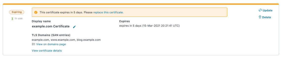 a certificate that is nearing expiration