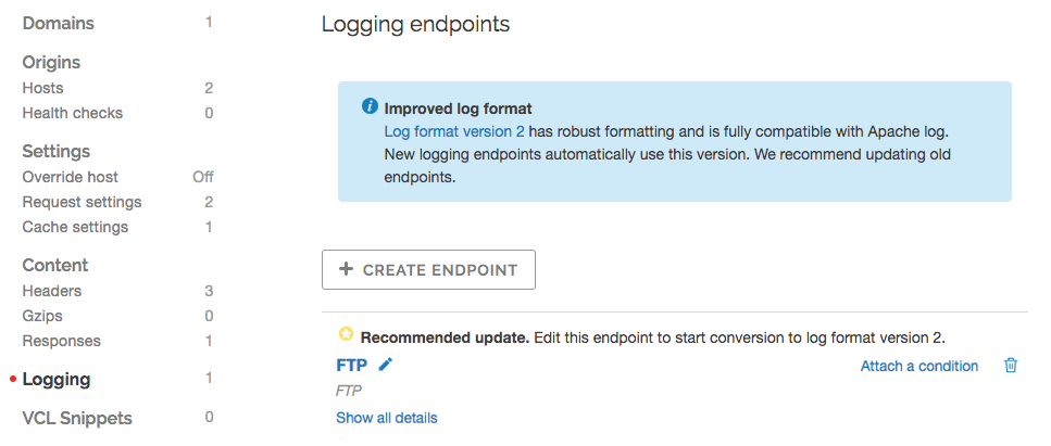the logging endpoints page with upgrade message