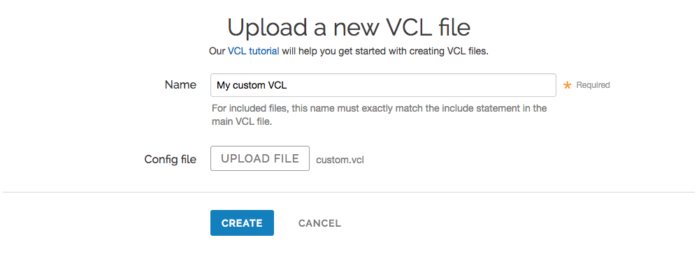 the default upload a new VCL file page