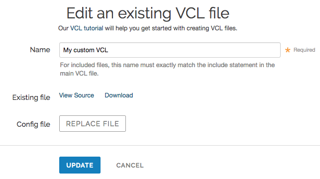 edit vcl file in the varnish configurations area