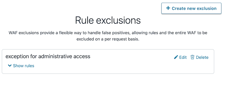 the WAF rule exclusion policies page