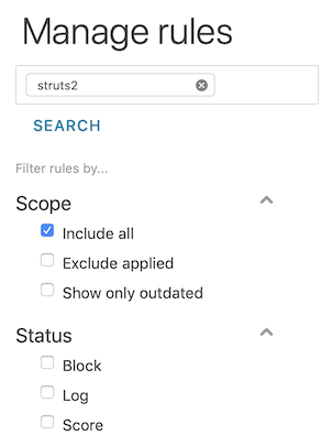 the WAF rule search with Include all selected